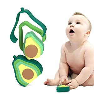 Baby Stacking and Teething Toys;Silicone Avocado Shape Nesting Toy,Early Educational Toddler Learning Montessori Toys for Babies 6+ Months Boys & Girls (Green)