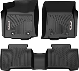 oEdRo Floor Mats Compatible for 2018-2020 Toyota Tacoma Double Cab Automatic ONLY Unique Black TPE All-Weather Guard Includes 1st and 2nd Row: Front Full Set Liners Rear