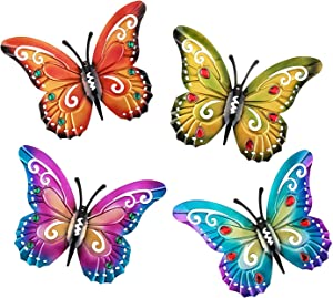 Butterfly Metal Outdoor Wall Art Decor - Wine Red Rose Red Green Blue 3D Decorations Sculpture Hanging for Porch Patio Fence Garden Yard Indoor Bedroom Living Room Office 4 Pack