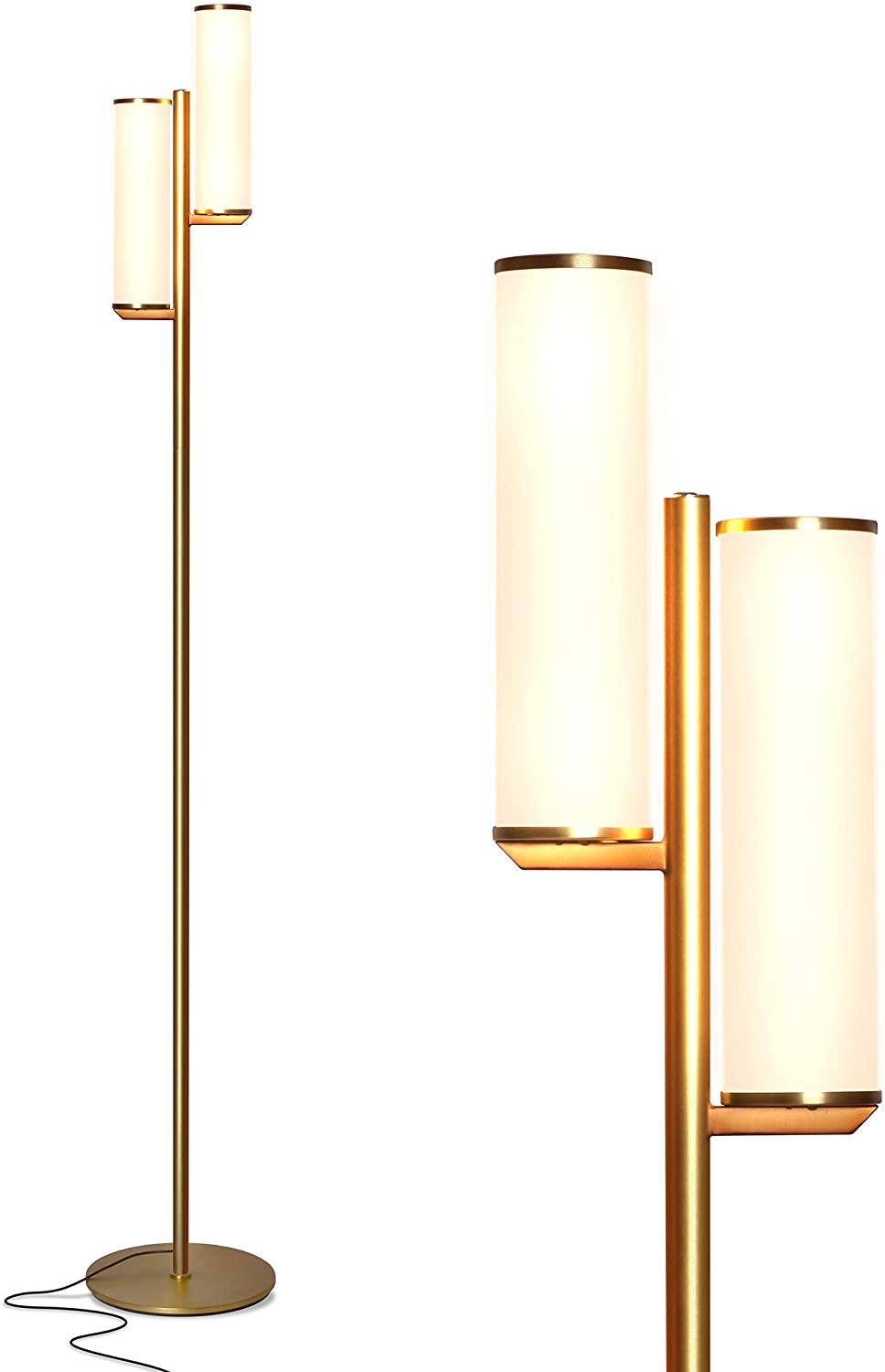 Brightech Gemini - Mid Century Modern Two Light Floor Lamp for Living Room Bright Lighting - Contemporary Dimmable LED Standing Light for Bedrooms & Offices - Gold/Antique Brass Indoor Pole Light