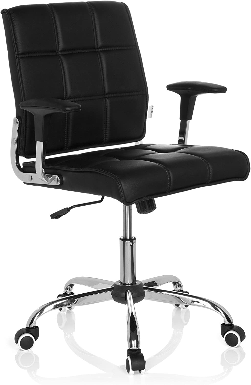 hjh OFFICE 719000 silla giratoria ERNESTO piel sintética negro silla oficina con brazos estilo retro vintage