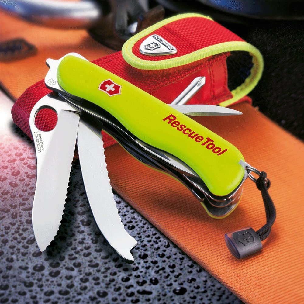 Victorinox Swiss Army Rescue Tool Pocket Knife with Pouch + Pocket Knife Sharpener + Cleaning Cloth - Top Value Bundle! (Fluorescent Yellow) by Victorinox (Image #6)