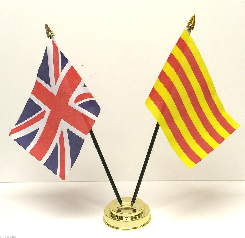 Reino Unido y Cataluña España doble amistad banderín Set + Base: Amazon.es: Hogar