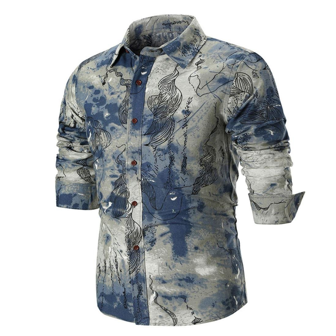 Newest Mens Printed Shirt Long Sleeve Slim Fit Button Down Dress