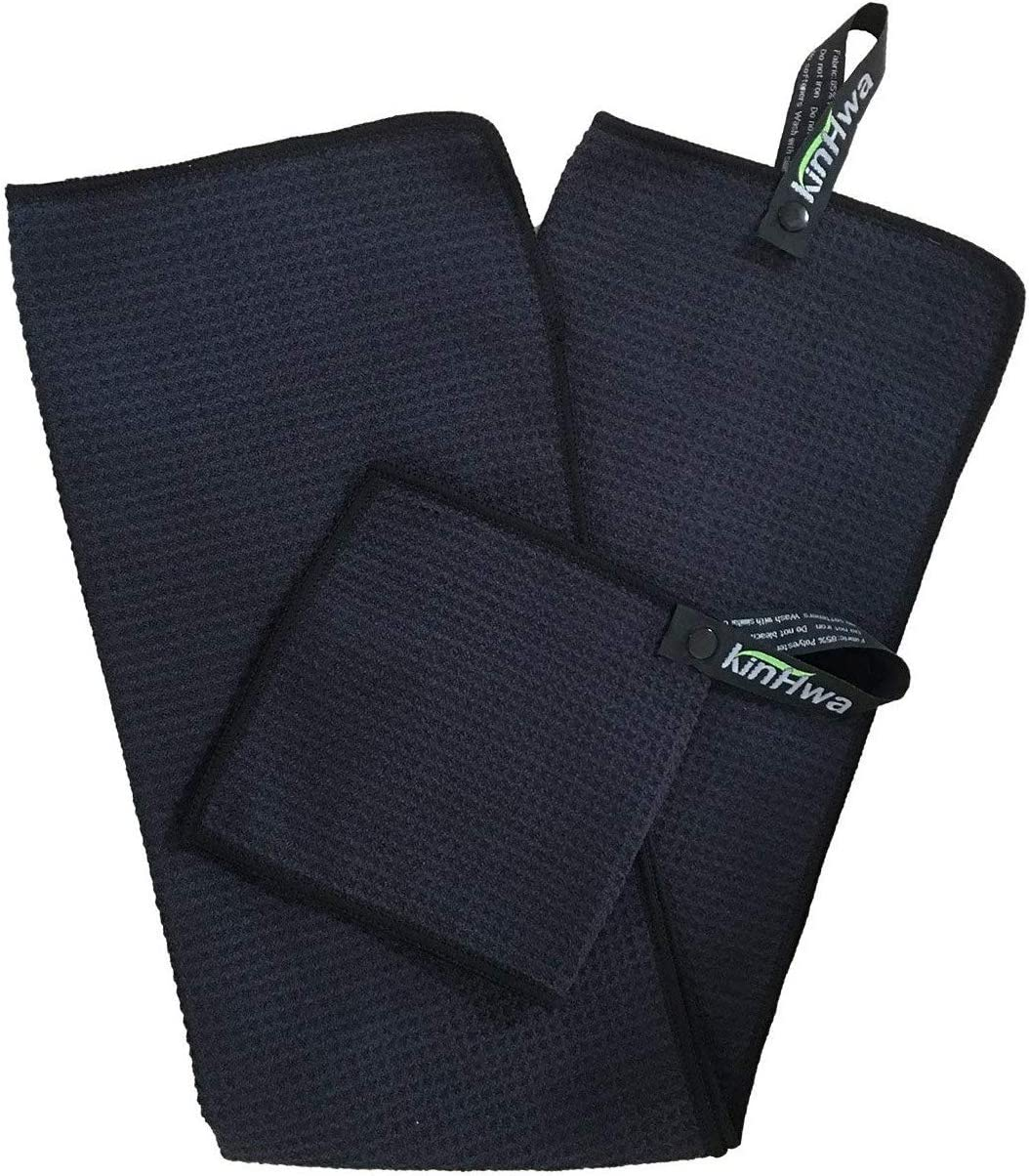 KinHwa Waffle Golf Towel 14inch X 30inch Microfiber Golf Towels with Clip and Small Golf Ball Towel 6inch X 6inch Black