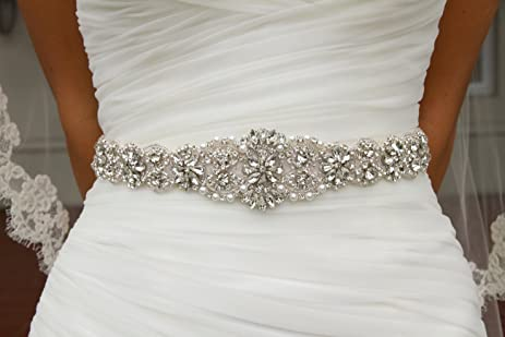 Amazon.com: Trlyc Wedding Dress Belt Bridal Belt Sash Belt Pearls ...