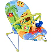 Costzon Baby Rocker Chair, Adjustable Reclining Chair with Music/Vibration Box/Toys, Baby Bouncer (Crocodile)