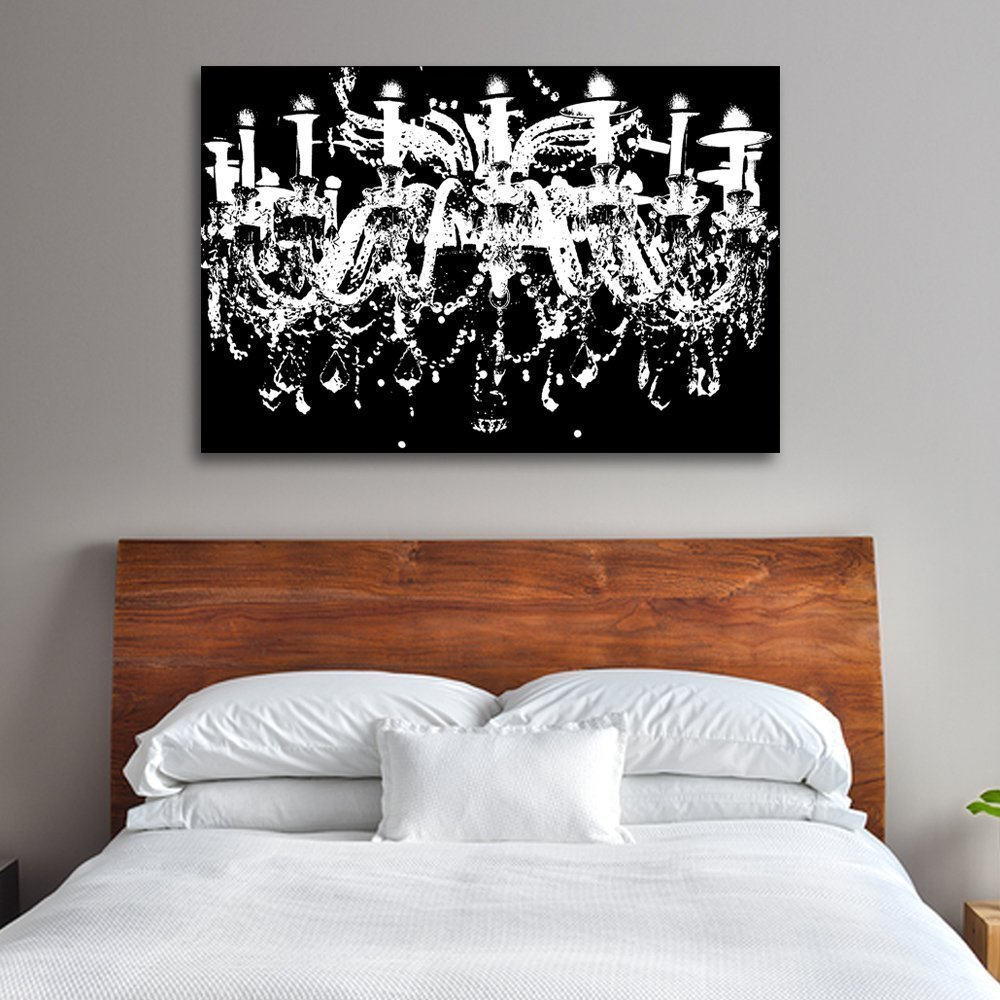 Com Black White Chandelier Wall Decoration Art Decorpiece On 24 X36 Canvas Stretched Over 1 5 Deep Wood Bars Posters Prints