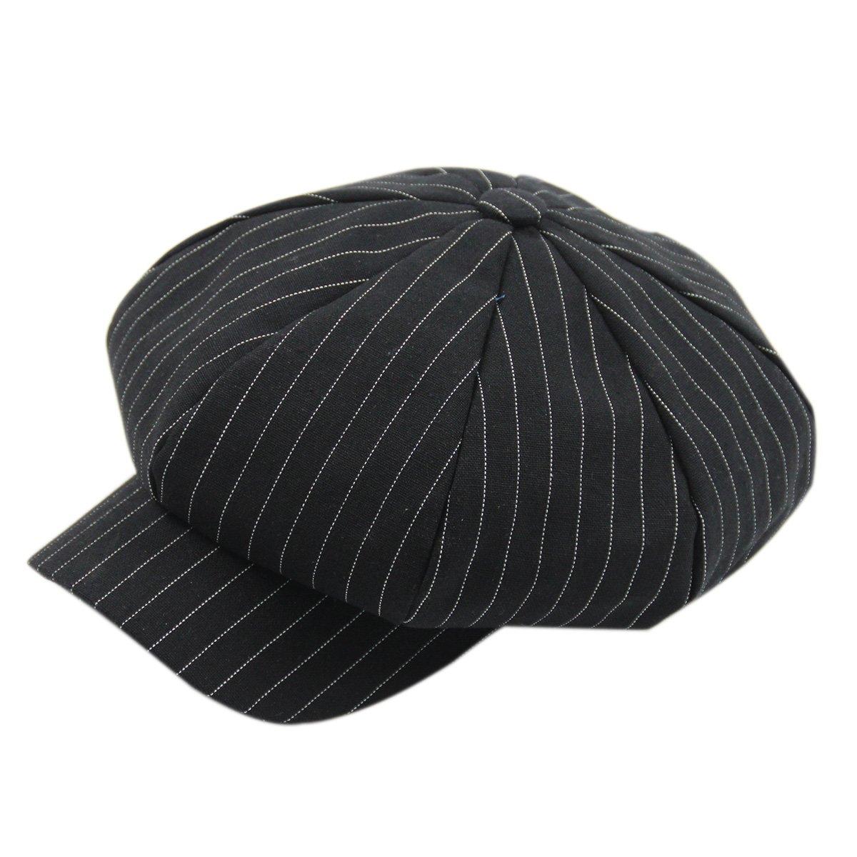 ZLS Women's Retro Washed Denim Peaked Newsboy Gatsby Cap Cabbie Hats (3-blacktiao)