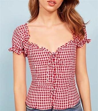 FlowerKui Elegant Camisa de cuadros de manga corta para mujer Para las mujeres de moda (Color : Red, tamaño : S): Amazon.es: Ropa y accesorios
