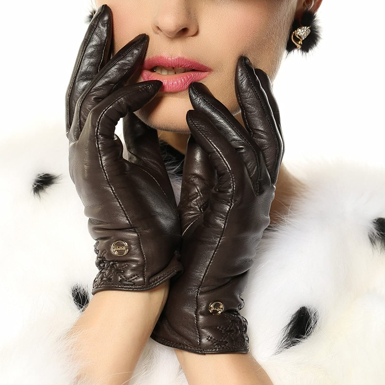 ELMA Lady's Winter Warm Nappa Leather Checked Gloves Cashmere Lining Gold Plated Logo