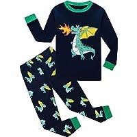 EULLA Pijama de dinosaurio para niño, de algodón, largo