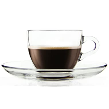 Cameo Clear Glass Espresso Shot Cup with Matching Saucers, 3 Ounce - Set of 6