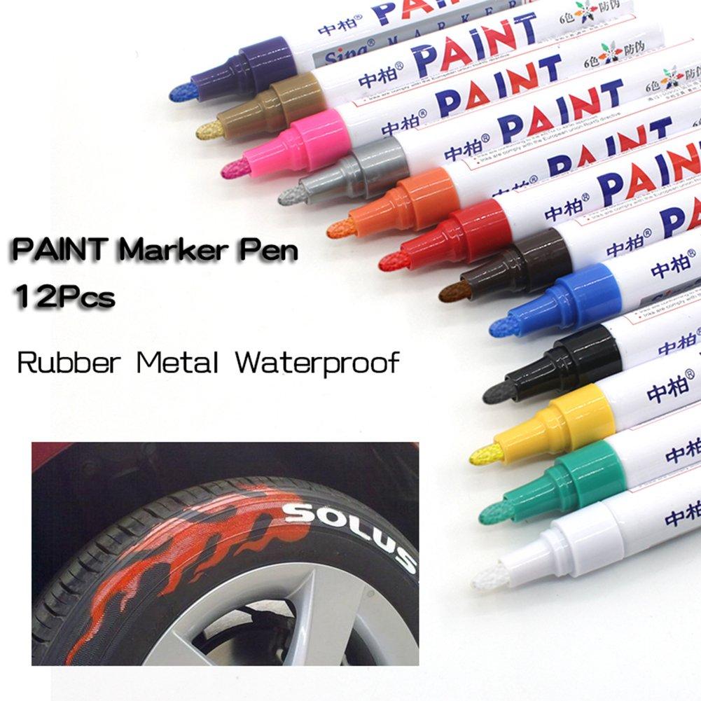 12colores neumático Pen pintura rotulador para neumáticos de automóvil permanente y resistente al agua secado rápido pintura pluma