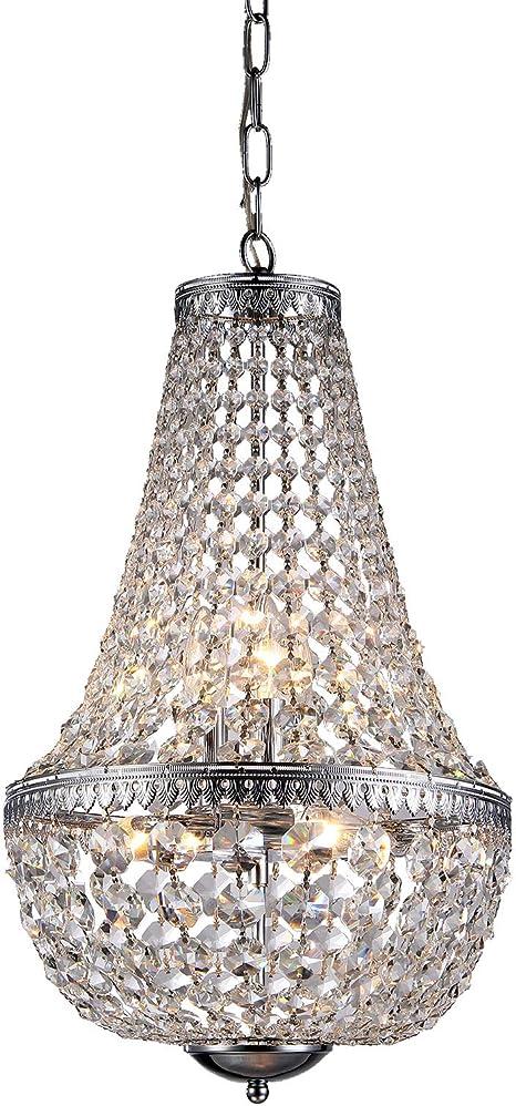 Amazon Com Edvivi 6 Light Chrome Crystal Empire Chandelier Pendant Ceiling Fixture Glam Lighting Home Improvement