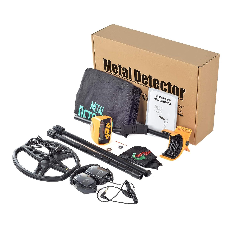 HOOMYA Detector de metales profesional con todos los metales y los modos de disco, Incluye sensibilidad ajustable y tallo, Bobina a prueba de agua, ...