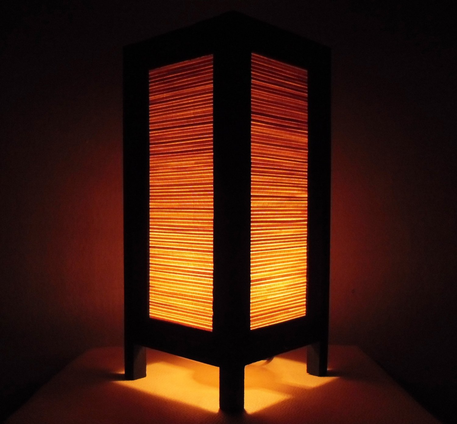 Thai Vintage Handmade Classic Bamboo Art Bedside Table Light or Floor Wood Paper Lamp Shades Home Bedroom Garden Decor Modern Design