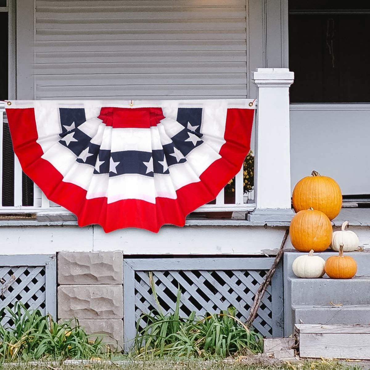 Bunting Fan Flag Banner Grommets 6 Pack 3x5 USA American America U.S