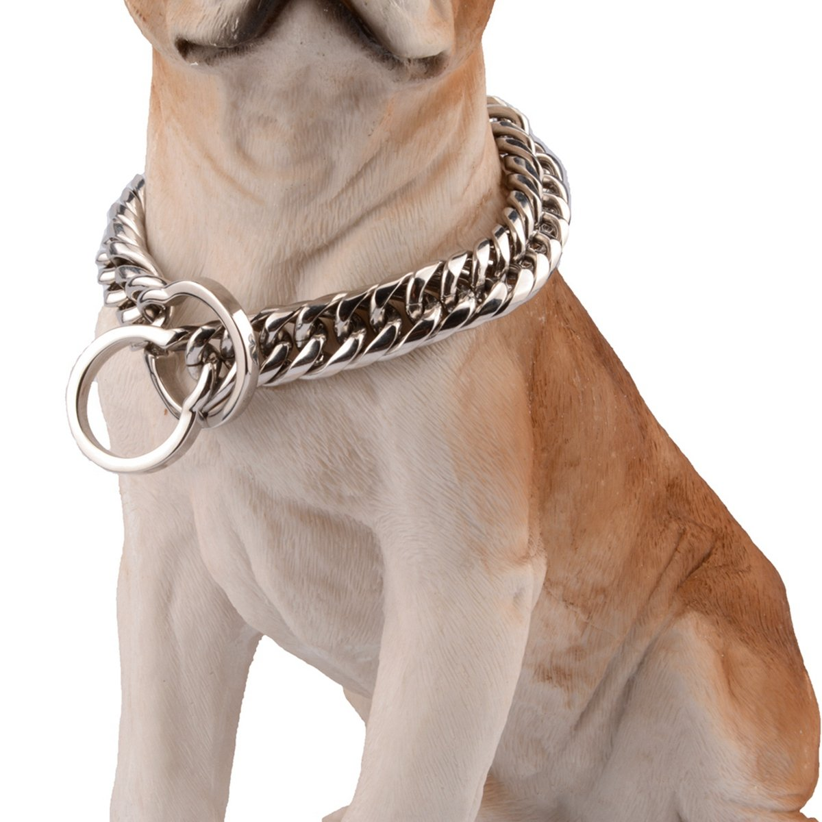 26inch recommend dog's neck 22inch Bestss Jewelry 16 18mm Silver Tone Curb Chain Stainless Steel Strong Dog Choke Training Chain Collar Pet Necklace,14-36 Inches (16mm Wide, 26inch Recommend Dog's Neck 22inch)