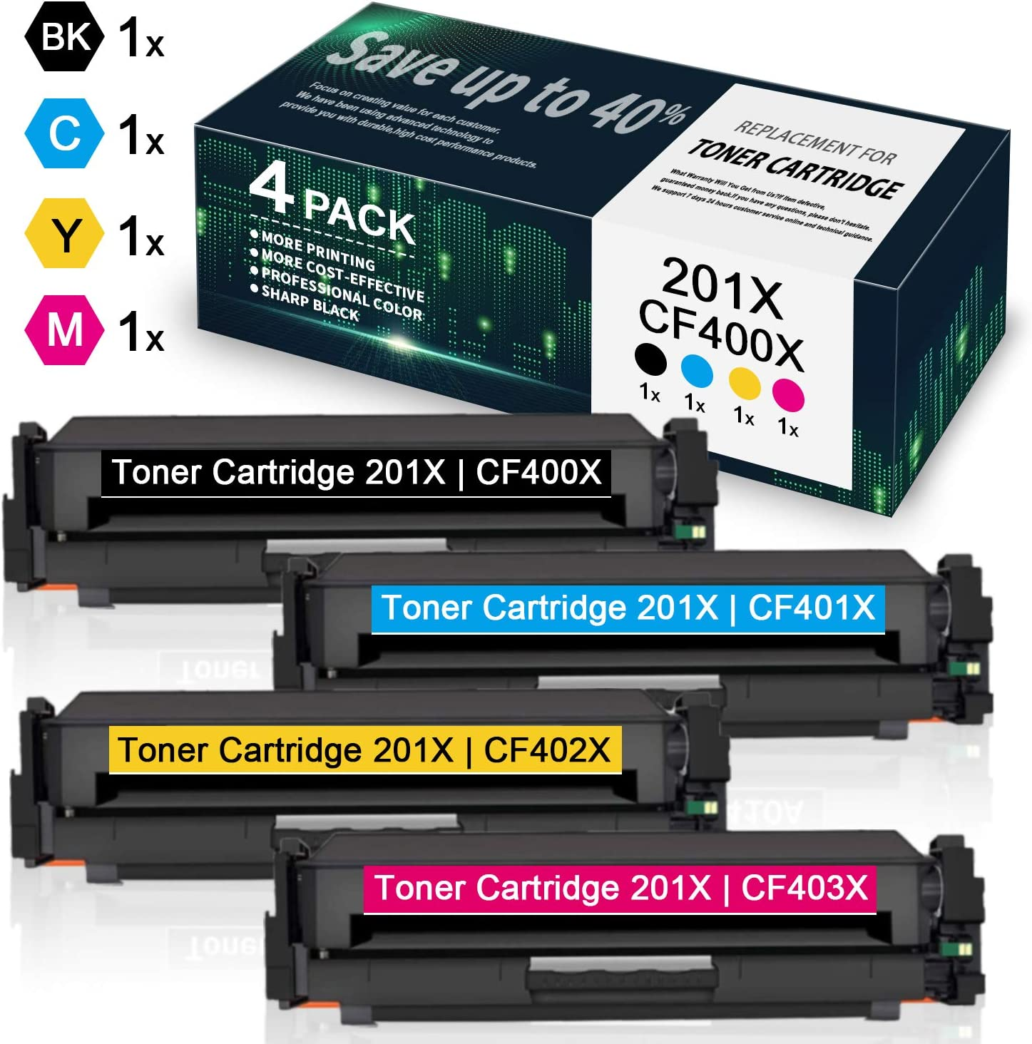 1BK//1C//1Y//1M by VaserInk High Yield 4 Pack 201X CF400X CF401X CF402X CF403X Toner Cartridge Replacement for HP Color Laserjet Pro MFP M277n M277dw M277c6 M274n Pro M252dw M252n