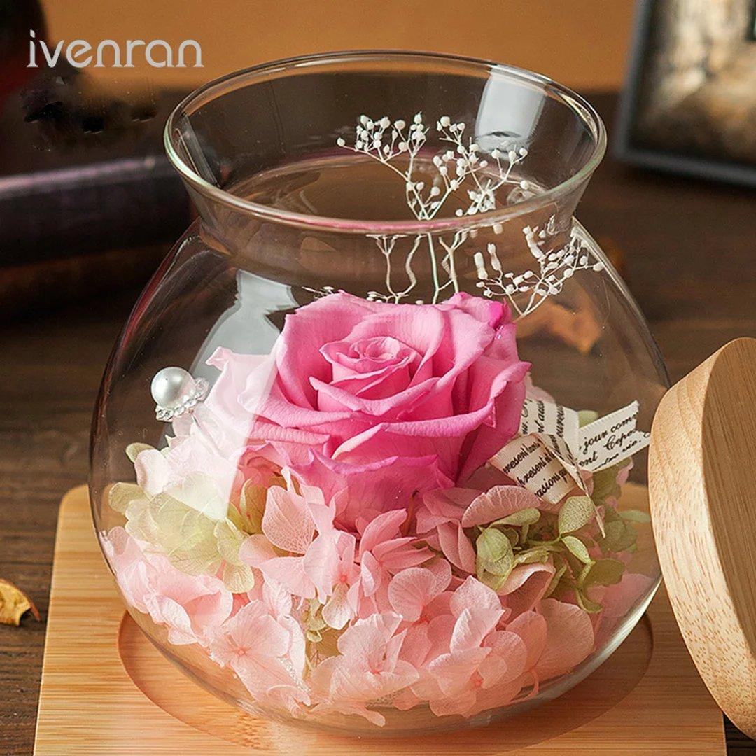 YKFN 夜光 LED ローズ バラ プリザーブドフラワー 枯れない花 ガラスドーム アレンジ 花 お誕生日 お祝い 結婚祝い ギフト 開店 お返し 贈り物 カード付き B06WGWN85Y タイプ2 タイプ2
