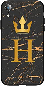 Okteq Case for iPhone XR Shock Absorbing PC TPU Full Body Drop Protection Cover matte printed - Golden H letter black marble By Okteq