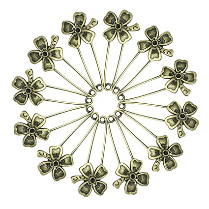 b45c5e925 Image Unavailable. Image not available for. Color: Ababalaya 12 Pcs Decorative  Bronze Assorted Safety Pins Vintage Hijab Pins Retro Brooches ...