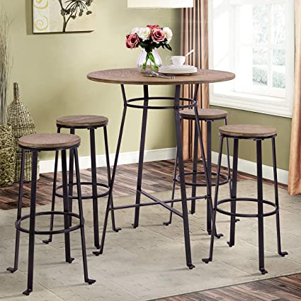 HarperBright Designs 42quot Height Round Bar Table Retro Dining Room Metal Frame TableLight