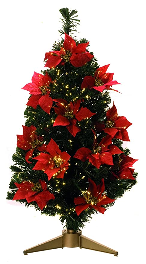 Light Up 90cm 3ft Green Red Poinsettia Fibre Optic Artificial Christmas Tree