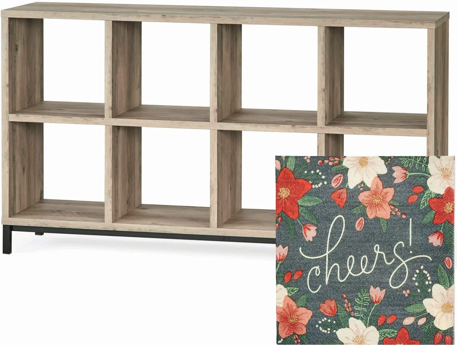 Better Homes and Gardens 8-Cube Organizer with Metal Base and Xmas Napkin Bundle, Rustic Gray