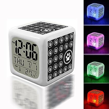Amazon com: Wake Up Alarm Thermometer Night Glowing Cube 7