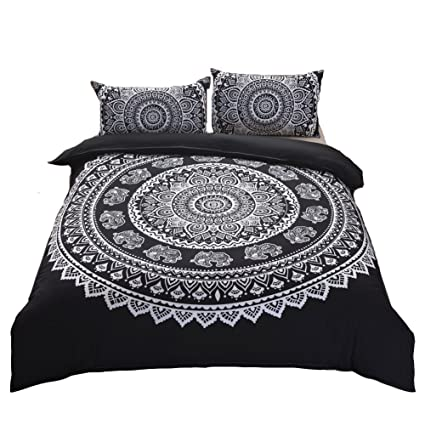 Amazoncom Move Over 3 Pieces Black Bohemian Duvet Cover Set Black