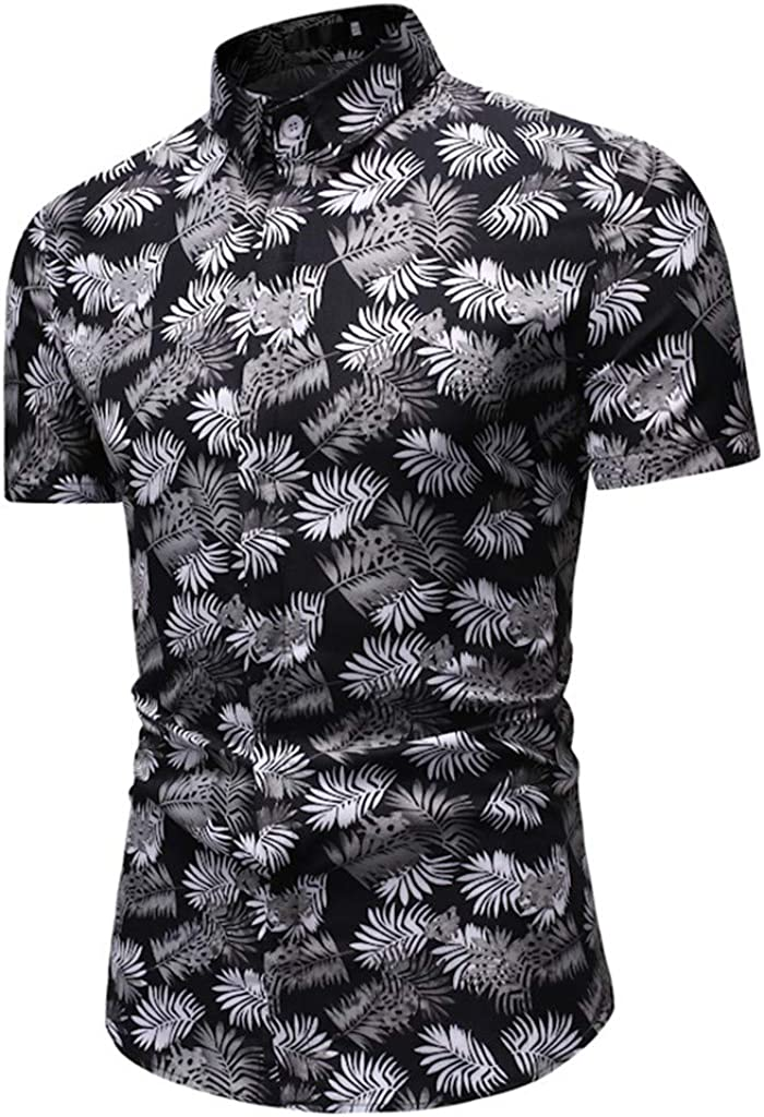 iCODOD Men Summer Shirt Casual Hawaiian Printed Tops Short-Sleeved Shirt Fashion Button Down Slim Fitness Beach Blouse