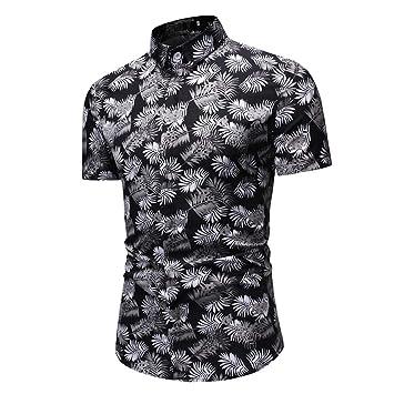 AG&T Hombres Camisas Hawaianas Causal en Playa Verano Manga Corta ...
