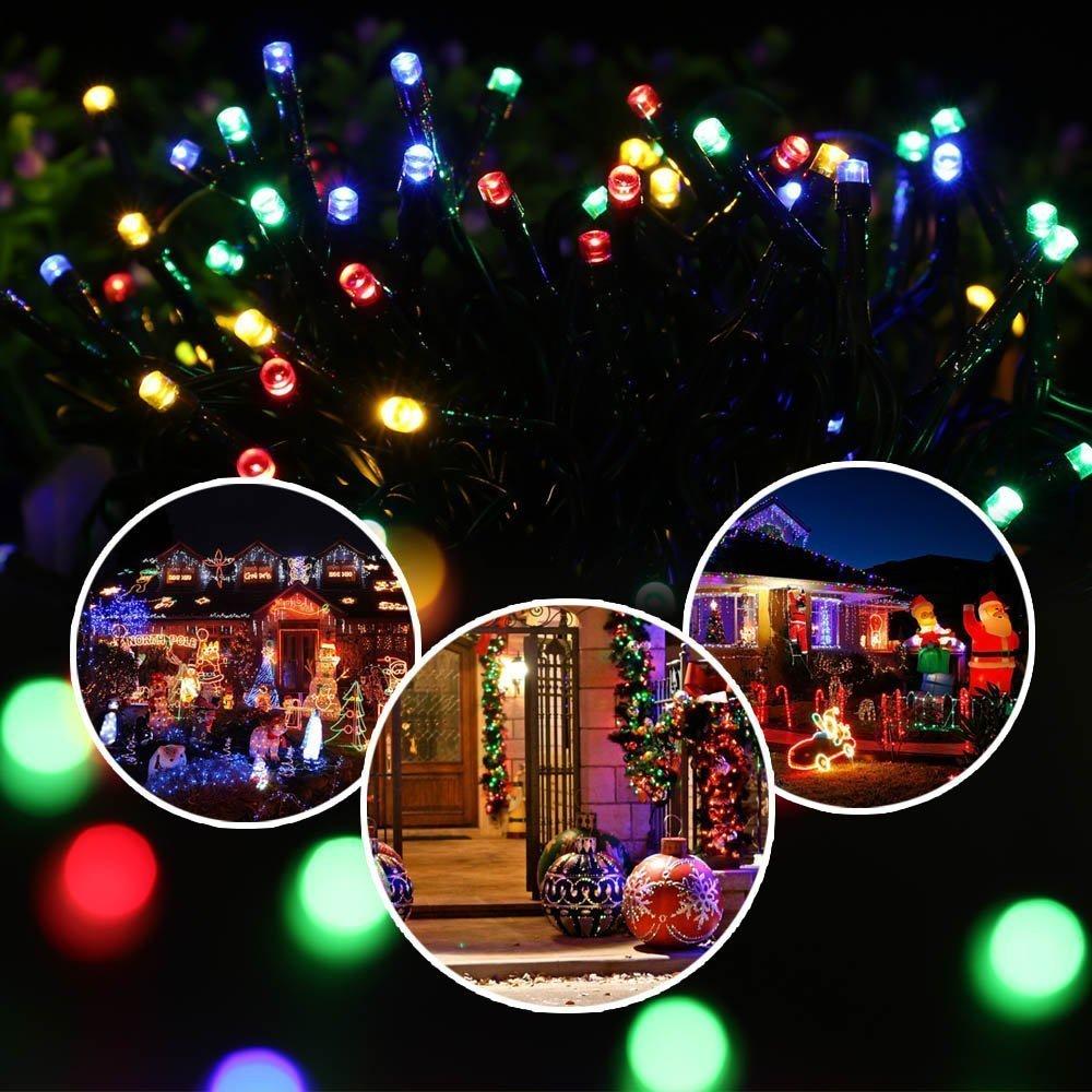 Qedertek Solar Lichterkette Weihnachten, Doppelstromversorgung ...