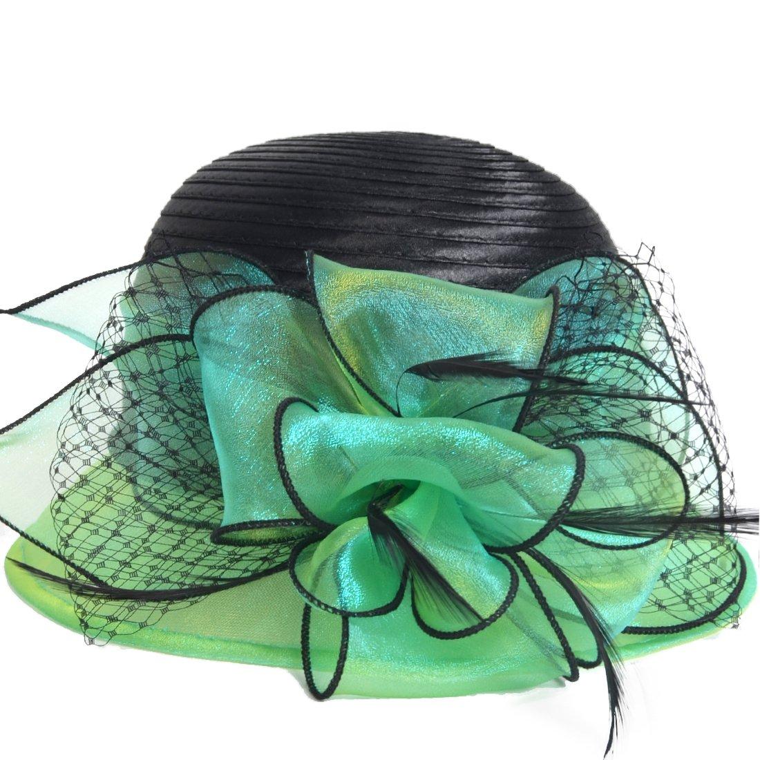 Kentucky Derby Dress Church Cloche Hat Sweet Cute Floral Bucket Hat (Green)