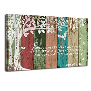 "VividHome Family Tree Canvas Wall Art Multicolor Tree Abstract Rustic Artwork Ready to Hang for Living Room Bedroom Home Decorations,Wedding & Anniversary Gifts 24""x36"""
