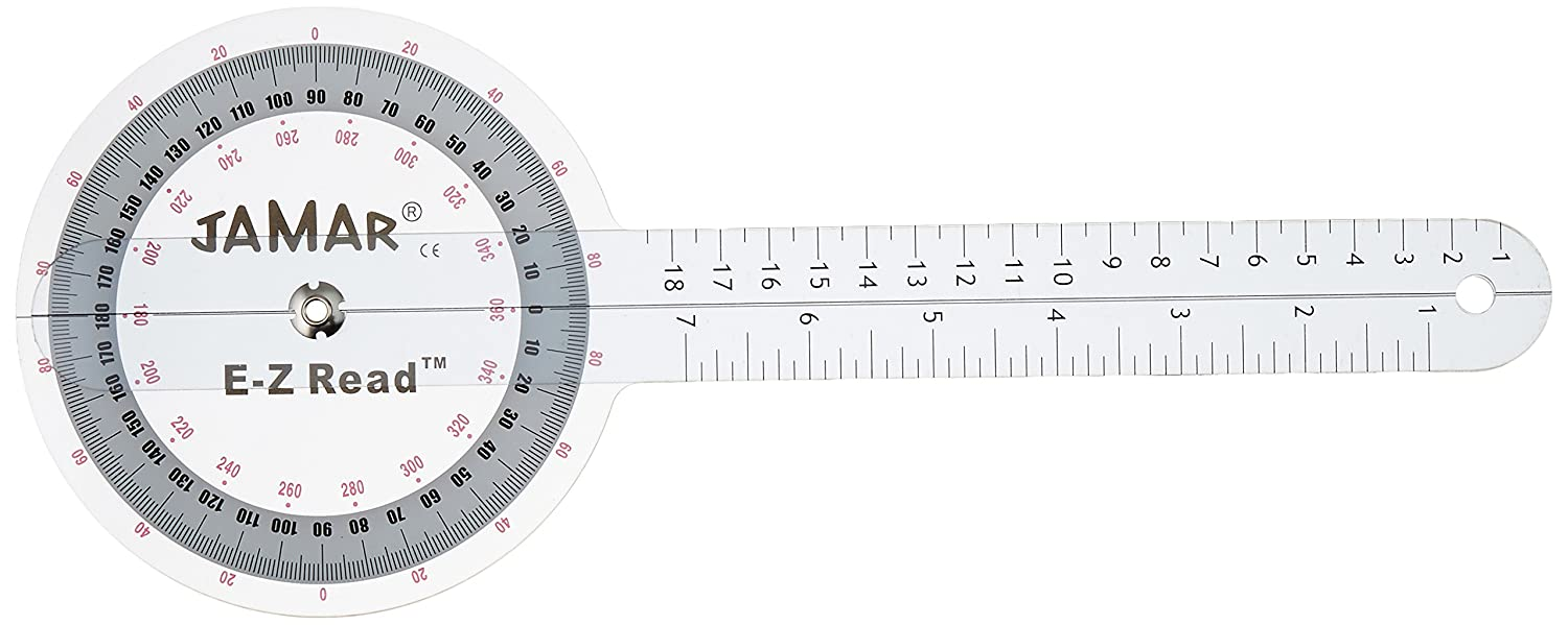 """Jamar EZ Read 12.5"""" (32cm) Goniometer, Easy to Read Manual Range of Motion Measure Tool, Accurate Angle Measuring Device, Transparent Protractor Instrument, Inch & Centimeter Linear Measurement"""