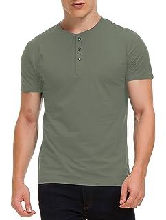 ba53e349e Boisouey Men's Casual Slim Fit Short Sleeve Henley T-Shirts Cotton Shirts