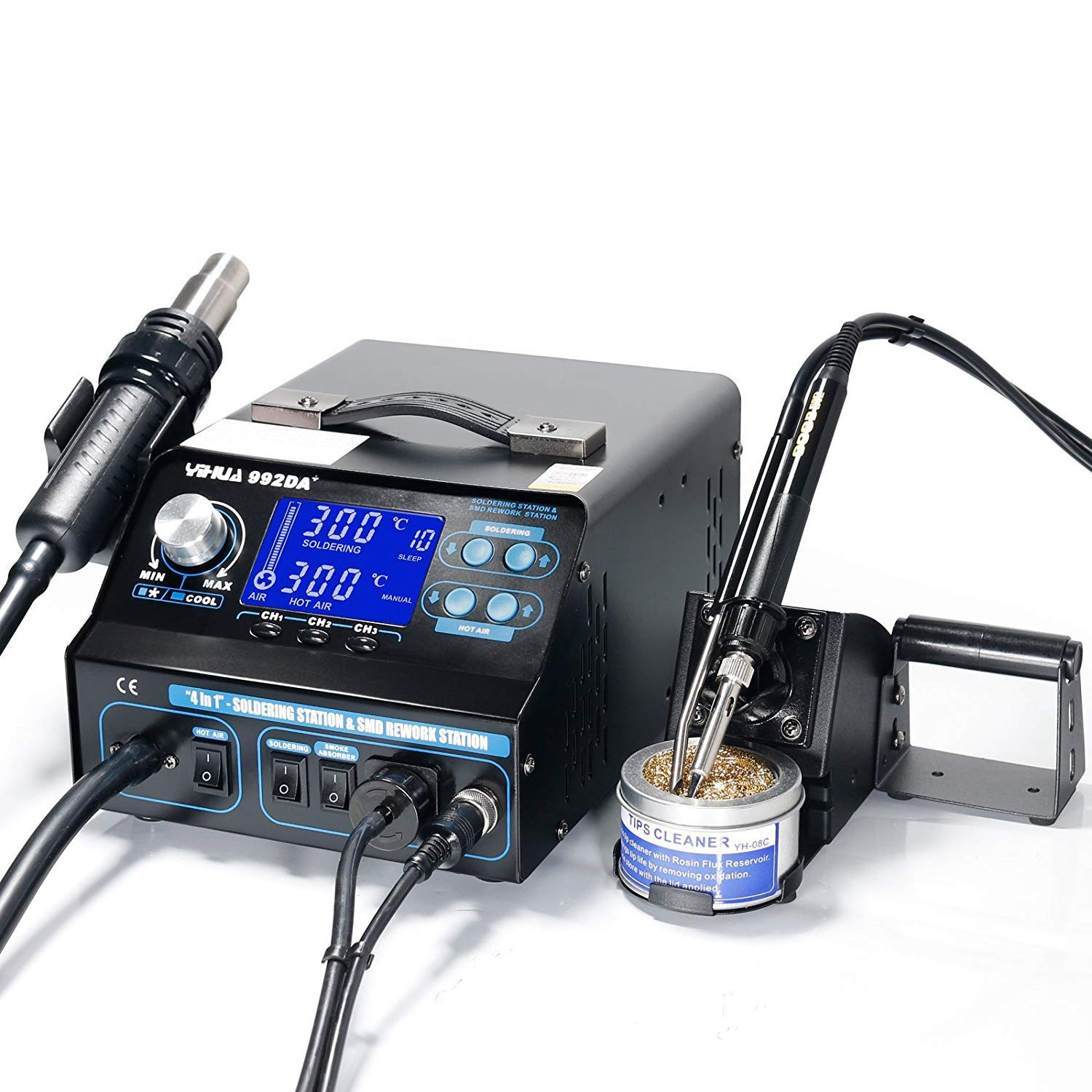 4 IN 1 HOT AIR REWORK SOLDERING IRON STATION FUME EXTRACTOR UK YIHUA 992DA