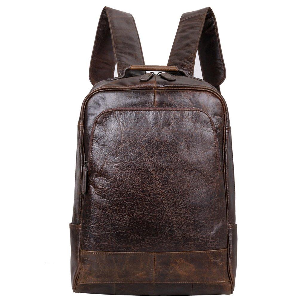 Berchirly Men Leather Backpack Travel Bag Fashion Shoulder Bag Rucksack Coffee