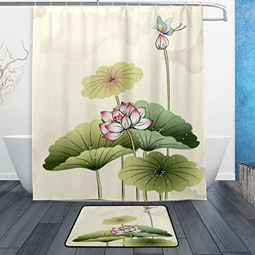 Golden Flower Butterfly Shower Curtain Set Waterproof Fabric Bathroom Mat Hooks