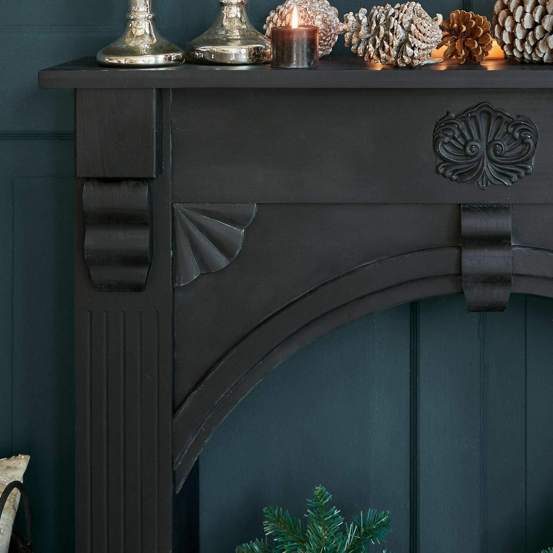 Loberon Beauvis Console de chemin/ée en polyr/ésine Noir 97 x 108 x 20 cm