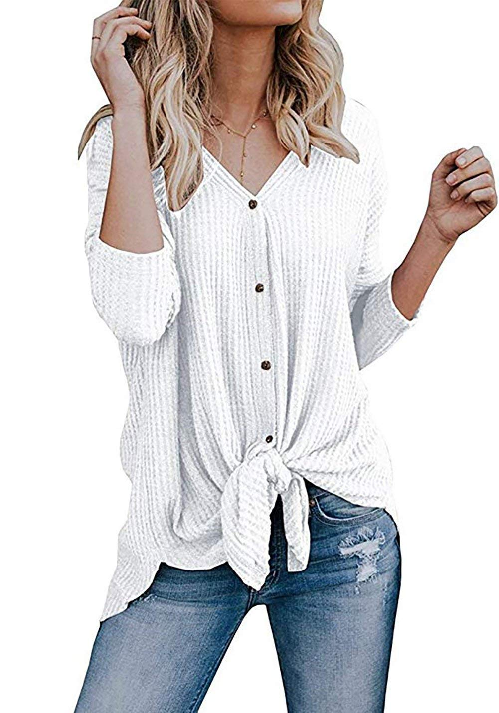 HBEYYTO Womens Loose Long Sleeve V Neck Button Down Henley Shirts Tie Front Knit Tunic Blouse Top White S