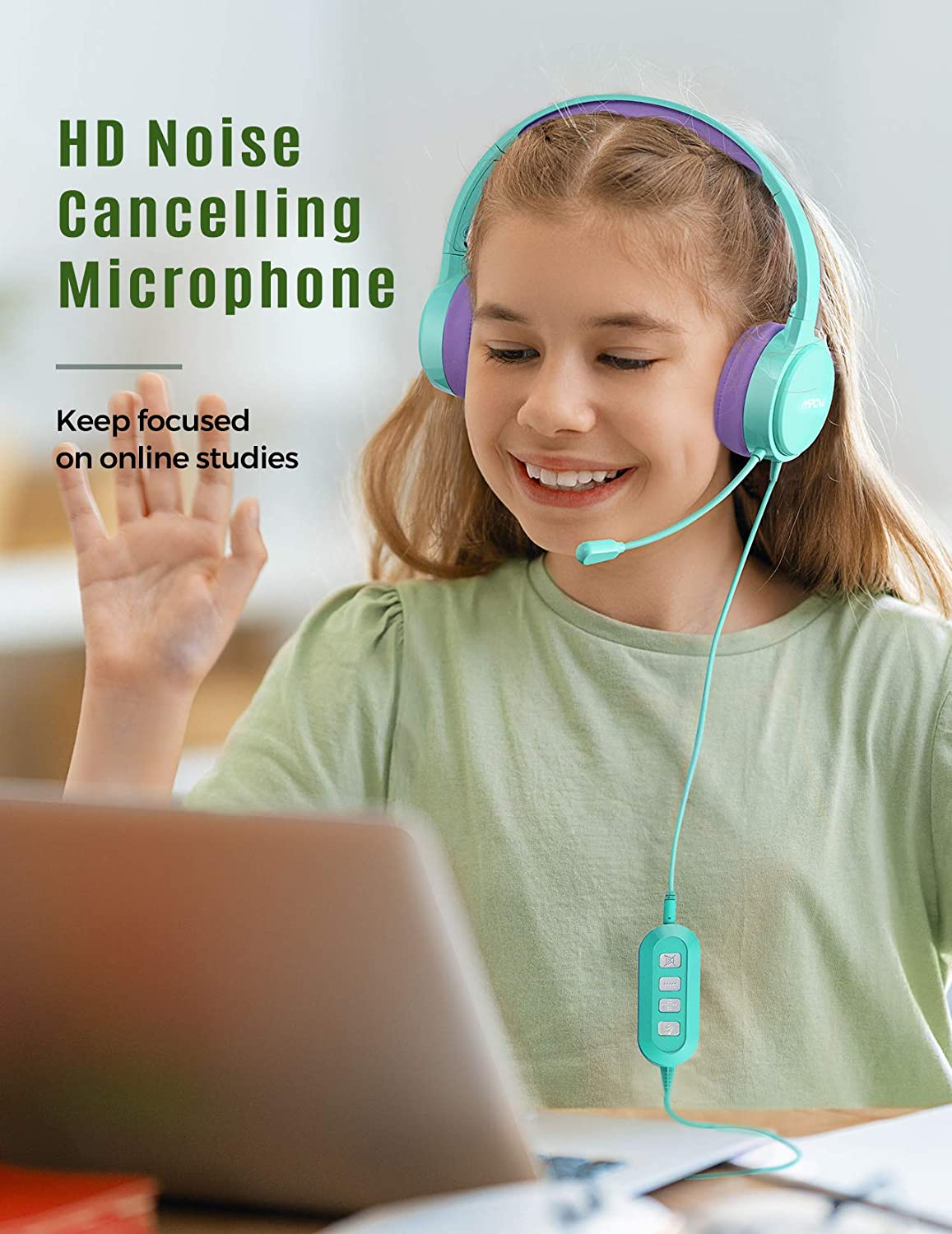 Mpow 071 Kid Headphone, 3.5MM & USB Headset With Microphone Noise Canceling, Lightweight Computer Headset With Volume Control, Fit For K12 School Virtual Learning, Language Lessons, Online Study