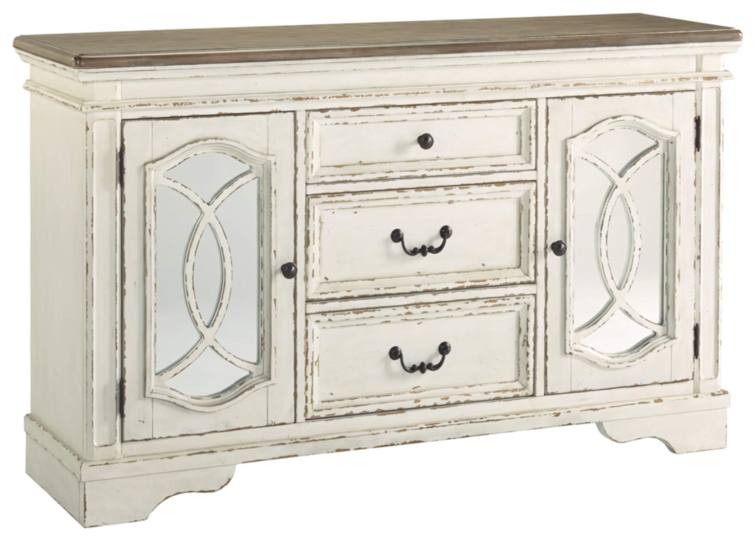 Signature Design By Ashley - Realyn Dining Room Server - Casual Style - Chipped White by Signature Design by Ashley