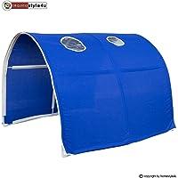 Homestyle4u Emil I. Hochbett Spielbett Kinderbett Weiss aus Kiefer mit Leiter und Vorhang in Blau B x H 90 x 200 cm Jugendbett