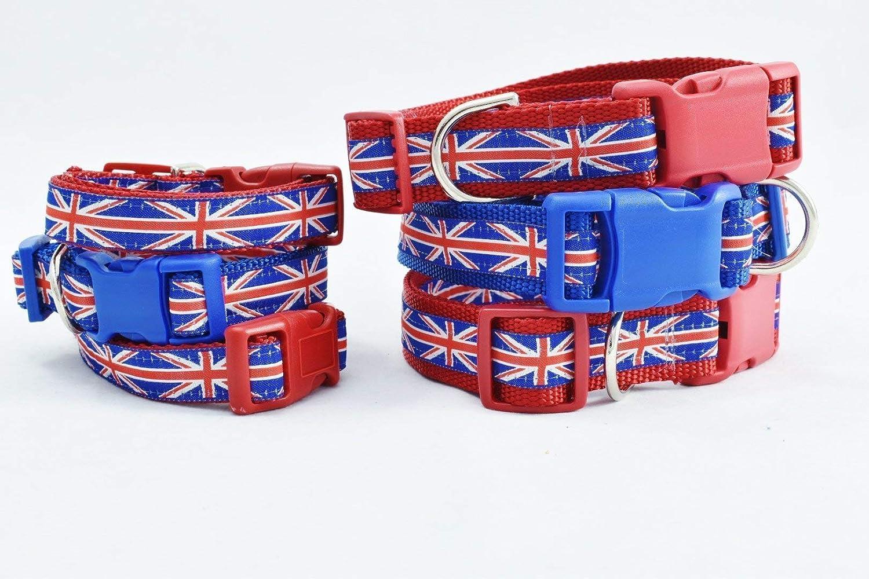 UNION JACK Custom DOG COLLAR Gift in Red or Blue Trim Stunning English Designer BRITISH FLAG