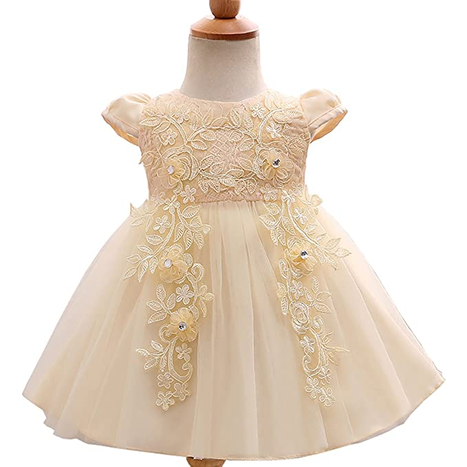 Baby Girl Embroidered 3D Flower Dress Christening Baptism Gowns Girl ...