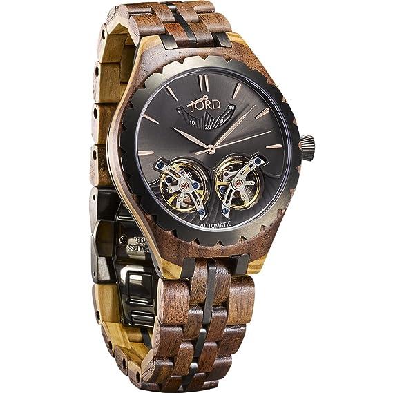 Jord relojes de madera para hombres – Meridian automático de la serie/madera reloj banda